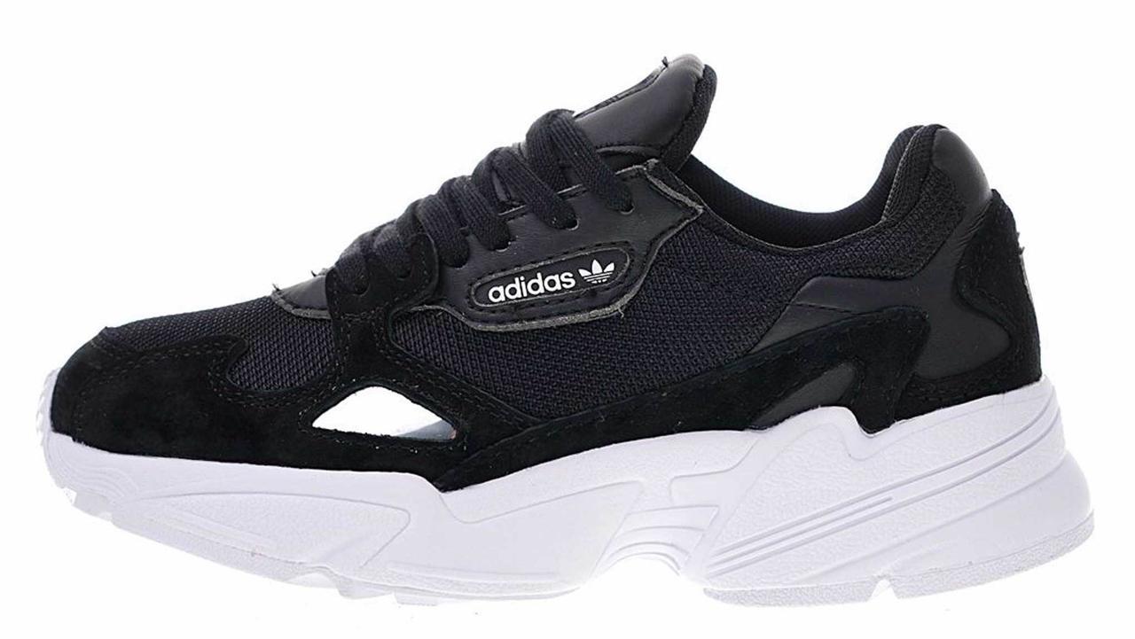 88fd69e6 Женские кроссовки Adidas Falcon Black White (адидас фалкон, черные/белые) -