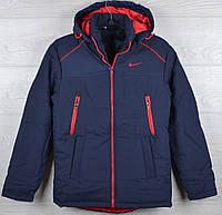 """Куртка демисезонная """"Nike реплика"""" для мальчиков. 10-11-12-13-14 лет (140-164 см). Темно-синяя+красный. Оптом., фото 1"""