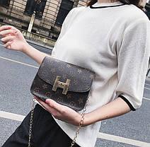 Милая сумка сундучок на цепочке, коричневая, фото 2