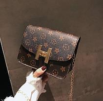 Милая сумка сундучок на цепочке, коричневая, фото 3