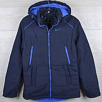 """Куртка демисезонная """"Nike реплика"""" для мальчиков. 10-11-12-13-14 лет (140-164 см). Темно-синяя+электрик. Оптом, фото 1"""