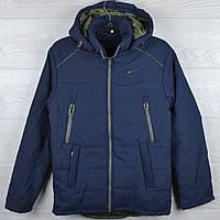 """Куртка демисезонная """"Nike реплика"""" для мальчиков. 10-11-12-13-14 лет (140-164 см). Темно-синяя+хаки. Оптом, фото 1"""