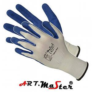 Защитные перчатки RWnyl Blue выполненные из полиэстера и покрыты латексом,бело-синего цвета. ARTMAS