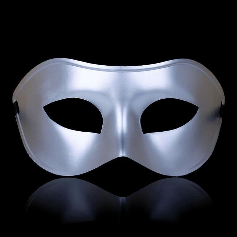 Венецианская маска мужская серебро
