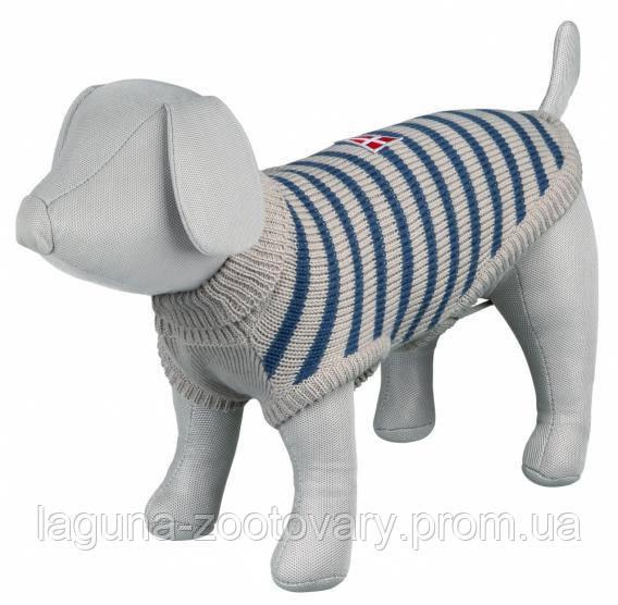 TX-67541 Свитер для собак МИЛТОН XS   27см,  серый/синий, демисезон