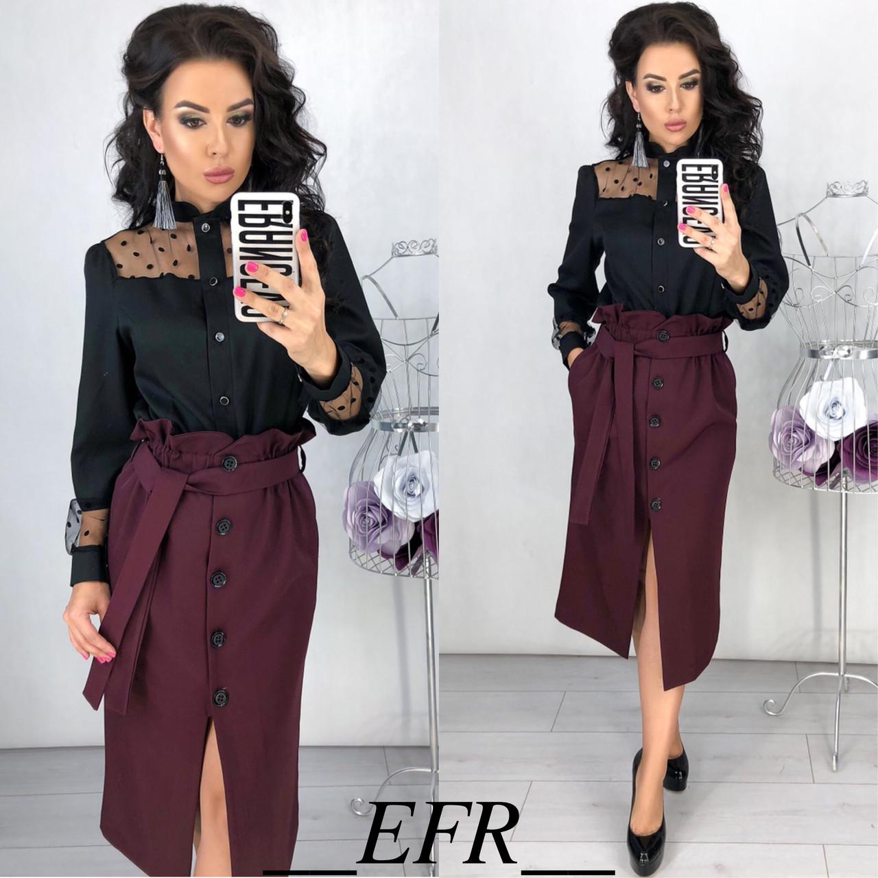 09388b93f52 Женский костюм  юбка с высокой талией и блузка с сеткой в горох - Интернет-