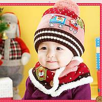 Детская вязаная красная с розовым шапка и хомут