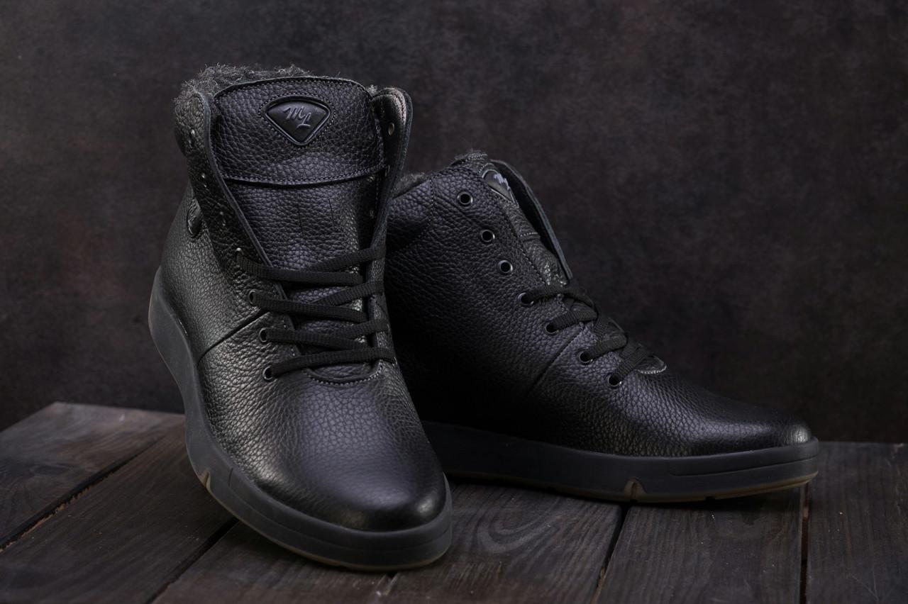 Ботинки мужские Olimp кожаные зимние молодежные стильные на меху (черные), ТОП-реплика