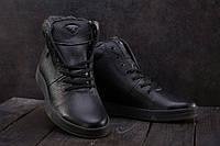 Ботинки мужские Olimp кожаные зимние молодежные стильные на меху (черные), ТОП-реплика, фото 1