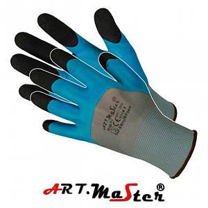 Защитные перчатки RwnylBi Foam выполненные из полиэстера и покрыты латексом, цвет - микс. ARTMAS