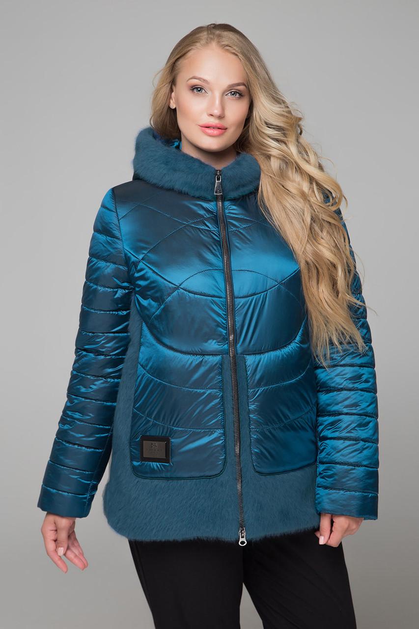 Стильная яркая курточка бирюзовая зимняя короткая  размер от 58 до 62