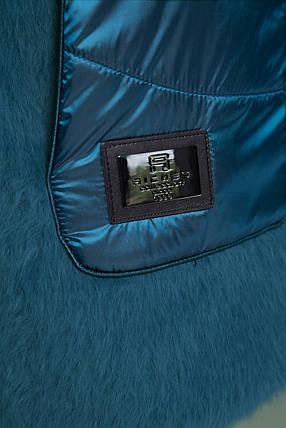 Стильная яркая курточка бирюзовая зимняя короткая  размер от 58 до 62, фото 2