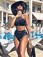 Женский купальник со вставками сетки и высокими плавками
