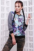 Свитшот женский с цветочным принтом KF-1588C