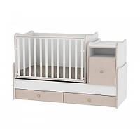 Кроватка-трансформер Bertoni TREND PLUS NEW (white/oak), детская кровать