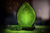 Соляная лампа Листик Зеленый, ночник HealthLamp