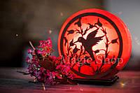 Соляная лампа HealthLamp Колибри Красный | Ночник из природной соли с регулятором яркости