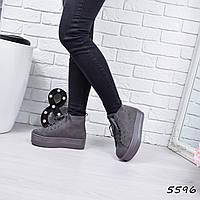 Ботинки женские Viva серые шнурок 5596, ботинки женские, фото 1