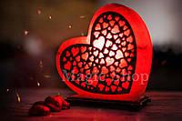 Соляная лампа Сердце любви красное, ночник HealthLamp