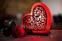 Соляная лампа Сердце ажурное, ночник HealthLamp