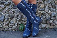 Сапоги джинс на подкладке, на низком ходу. Размеры: 36-42,  код 4188О