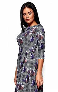 (S, M, L) Класичне сіре плаття-міді в синю квітку Amella
