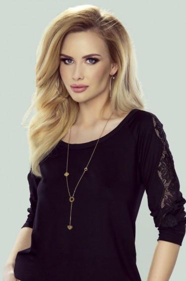 Женская блуза черного цвета с гипюровой вставкой. Модель Fabia Eldar. Коллекция осень-зима