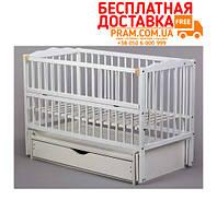 Детская кроватка Радуга маятник + ящик + откидной бок Белая