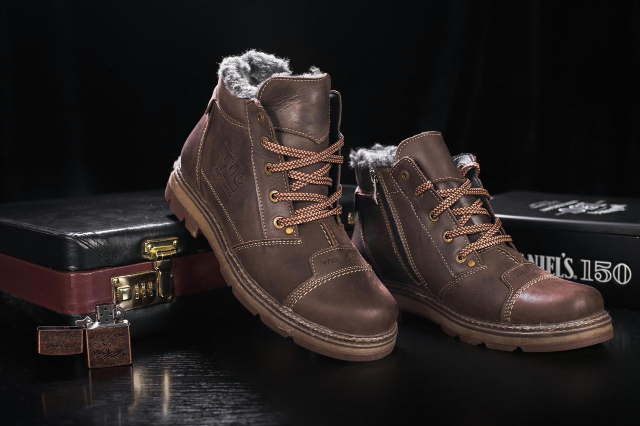 Мужские зимние ботинки Westland высокие зимние на шнурках  кожа+натуральная набивная шерсть (коричневые), ТОП-