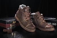 Мужские зимние ботинки Westland высокие зимние на шнурках  кожа+натуральная набивная шерсть (коричневые), ТОП-, фото 1