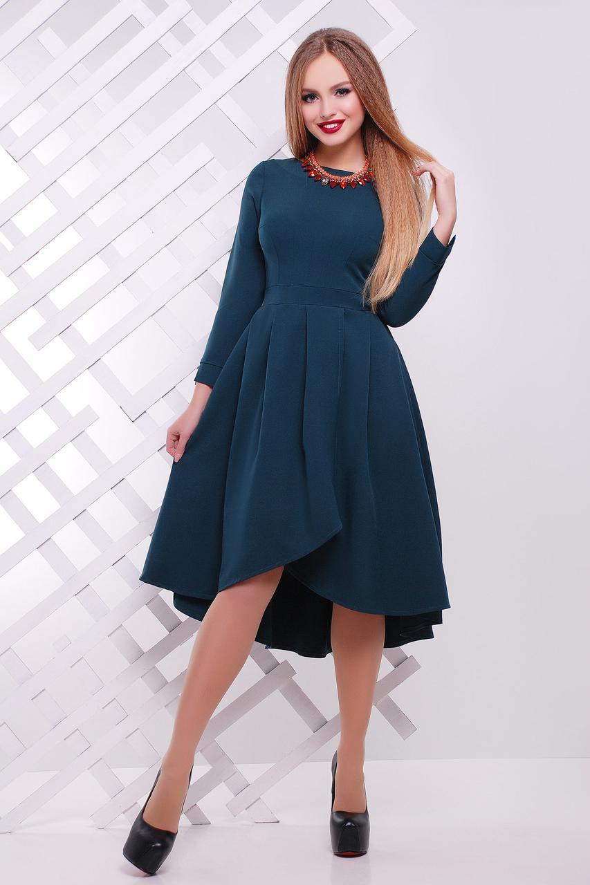 Стильное платье асимметричное пышное длинные рукава креп костюмка изумрудное