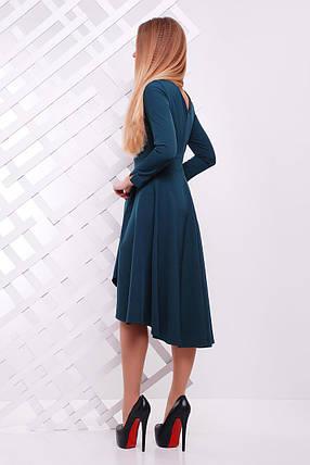 Стильное платье асимметричное пышное длинные рукава креп костюмка изумрудное, фото 2