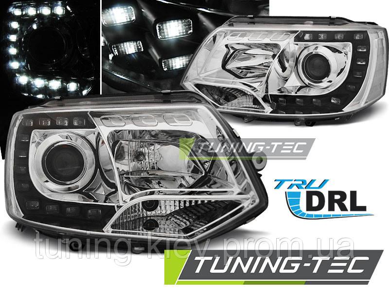 Передние фары VW T5 2010-2015 CHROME TRU DRL