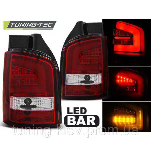 Задние фонари VW T5 04.10-15 RED WHITE LED BAR