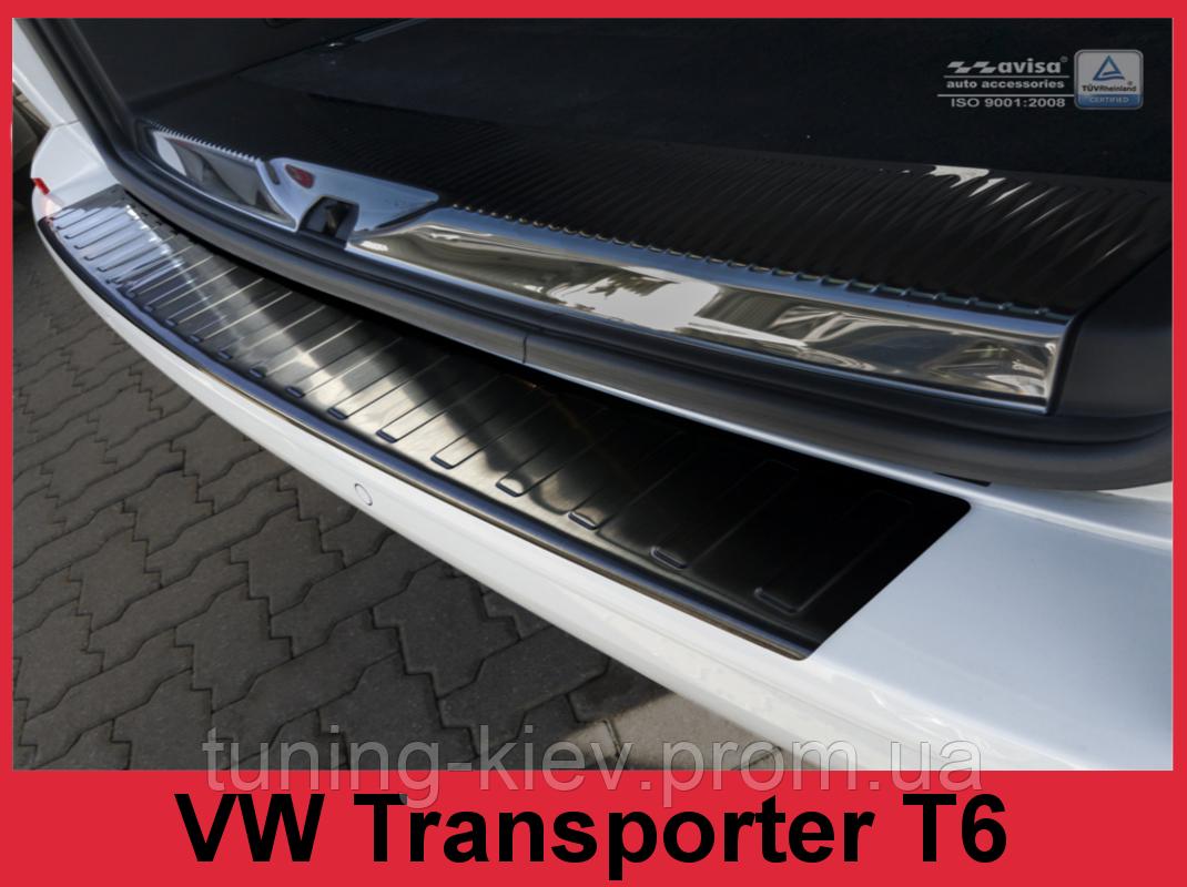 Накладка на бампер с загибом и ребрами Volkswagen Transporter T6 Furgon (черная)