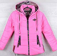 """Куртка демисезонная """"Supper Gucci реплика"""" для девочек. 8-9-10-11-12 лет (128-152 см). Ярко-розовая. Оптом., фото 1"""