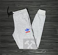 Теплые спортивные штаны мужские Adidas Адидас серые (РЕПЛИКА)