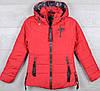"""Куртка демисезонная """"Supper Gucci реплика"""" для девочек. 8-9-10-11-12 лет (128-152 см). Красная. Оптом."""