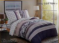 Сатиновое постельное белье семейное ELWAY 5077 «Абстракция»