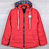"""Куртка демисезонная """"5"""" для девочек. 8-9-10-11-12 лет (128-152 см). Красная. Оптом."""