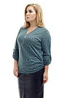 Джемпер женский большого размера Звезда зеленый, легкая кофта, трикотажная кофта большого размера