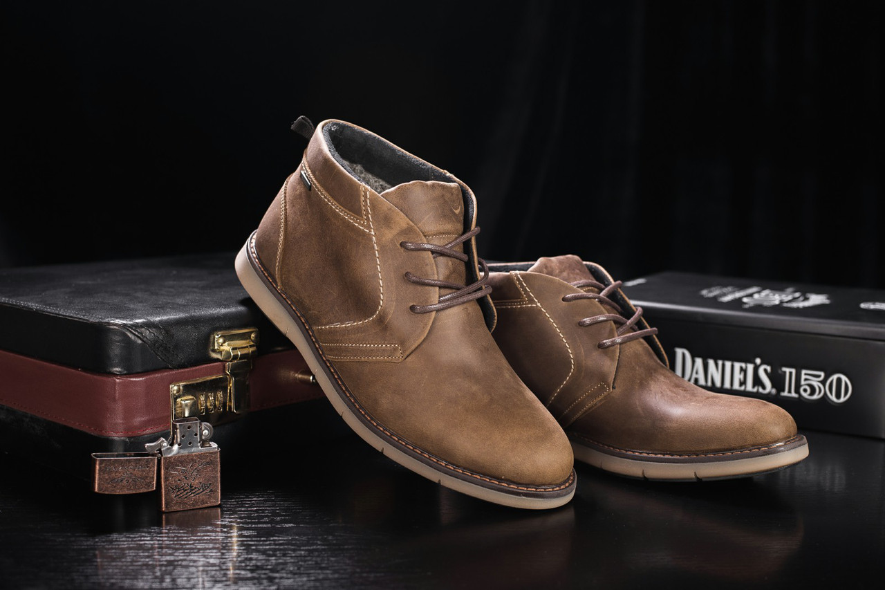 Мужские зимние ботинки Yuves классические стильные на низком ходу кожа нубук (оливковые), ТОП-реплика