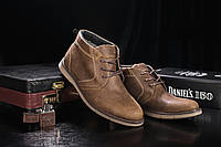 Мужские зимние ботинки Yuves классические стильные на низком ходу кожа нубук (оливковые), ТОП-реплика, фото 1