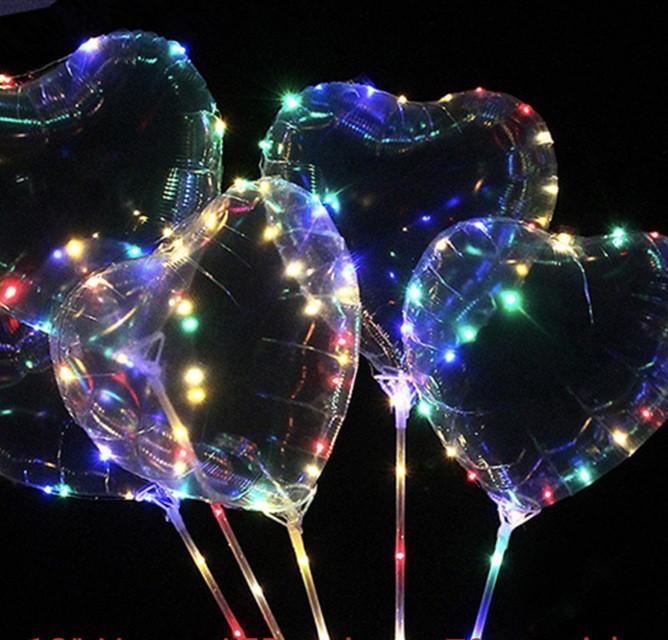 """Светодиодный воздушный шар на палочке """"Сердце BoBo"""" 50см"""