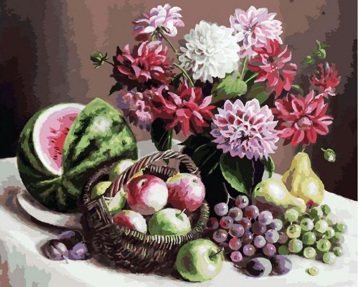 Картина по номерам Белоснежка «Георгины и фрукты»172-AB