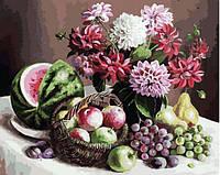 Картина по номерам Белоснежка «Георгины и фрукты»172-AB, фото 1