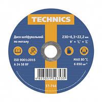 Диск шліфувальний по металу, 230х6,3х22 Technics 17-744  круг  шлифовальный металла