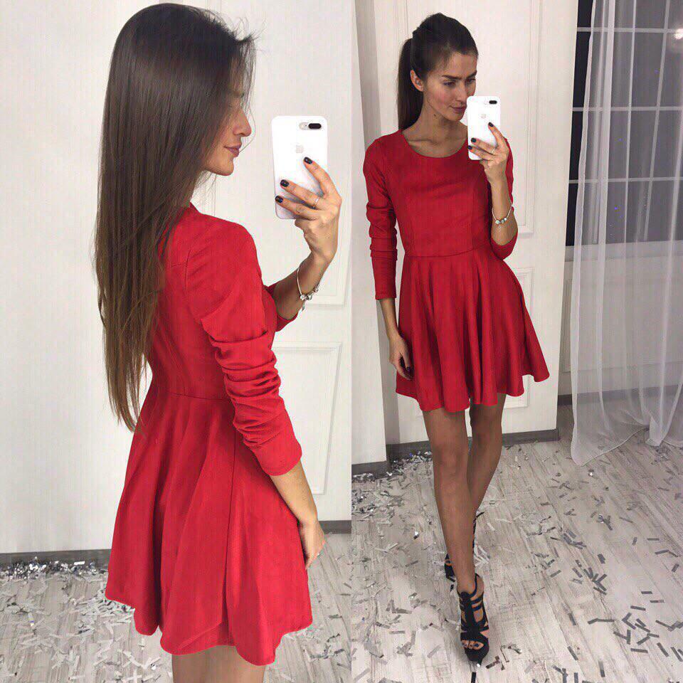 7382bb0d591 Платье Женское классика длинный рукав юбка солнце замш красное ...