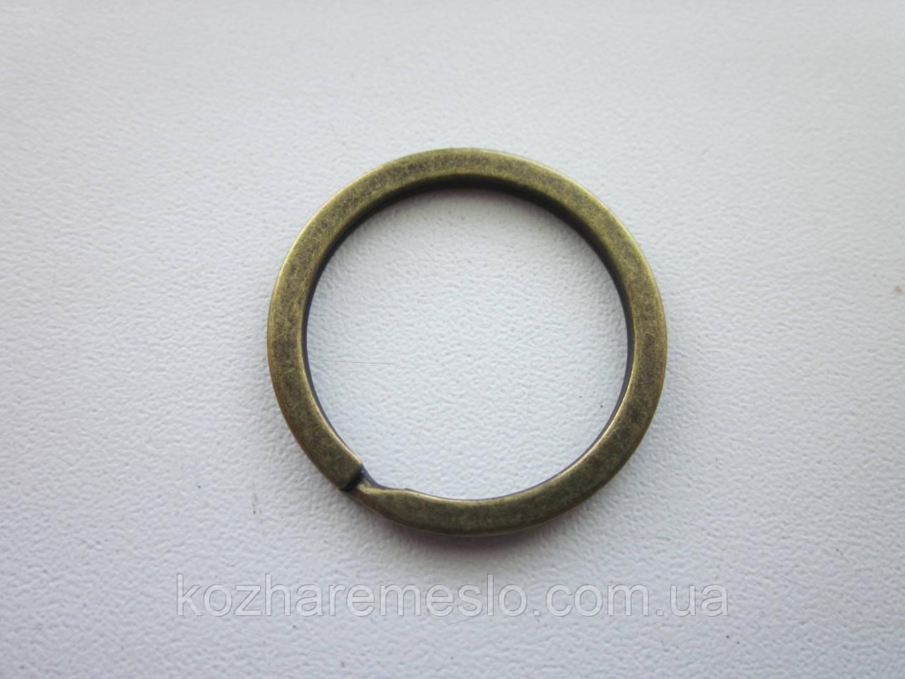 Кольцо брелочное заводное плоское 2  х 25 мм антик