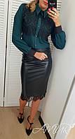 Женский элегантный костюм-двойка юбка и блузка с гипюром, фото 1